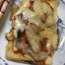 油揚げでキムチーズピザ