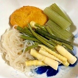 蕗、しらたき、わらび、笹の子の煮物