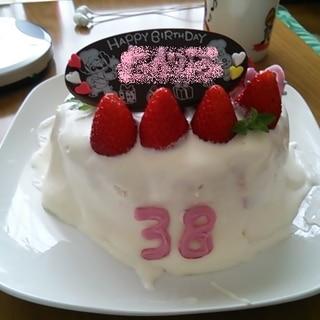 膨らまなかったスポンジで無理やりショートケーキ
