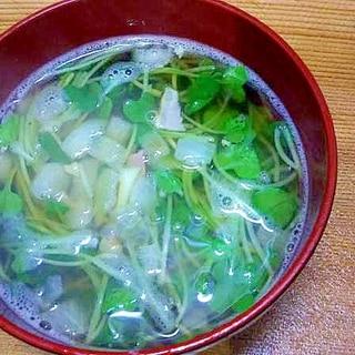 かいわれベーコン玉葱のスープ