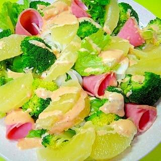 メロゴールドとブロッコリーハムのサラダ