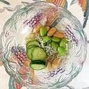 胡瓜、枝豆、ちりめん、ピーナッツの和え物