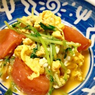 豆苗とトマトと卵の炒め物