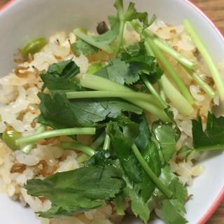 ちりめん山椒と枝豆の炊き込みご飯