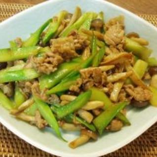 ブロッコリの茎と豚肉のオイスターソース炒め