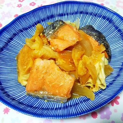 鮭とキャベツのにんにく味噌バター煮++