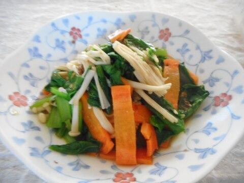 小松菜とにんじん、えのきの味噌炒め
