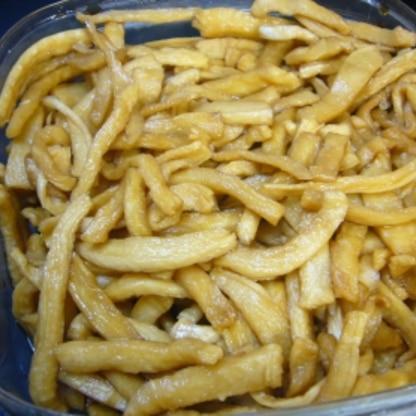 自家製切干大根で作りました。切り方バラバラです((笑))パリパリの触感が良いですね♪朝ご飯に、お弁当にと美味しく頂いてます。