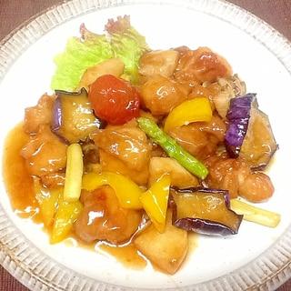 夏野菜と鶏肉の黒酢炒め