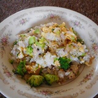 ブロッコリーと炒り卵のミントピラフ