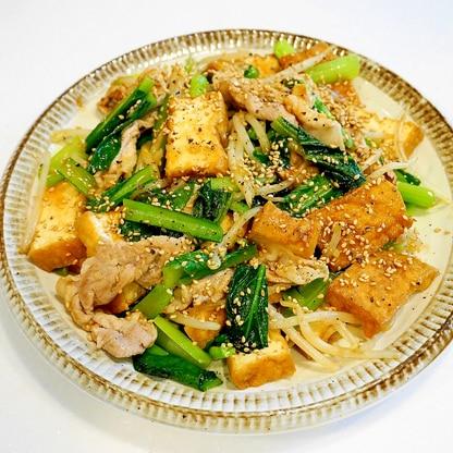 すすむ!厚揚げと豚肉ともやしと小松菜の中華炒め