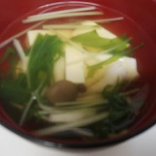 ♥しめじと水菜と豆腐のお吸い物♥