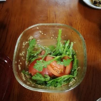 トマトと春菊がこんなにあうとは知りませんでした!また、作ります!