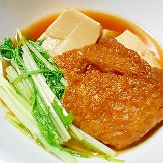 お揚げと豆腐と水菜のすき煮