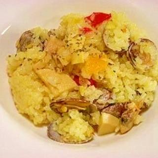圧力鍋で☆アサリと筍のパエリア風ご飯