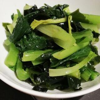 レンジで簡単作りおき♪小松菜とワカメの辛子和え