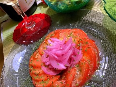 冷やしトマトと酢玉ねぎのサラダ