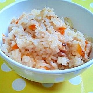 【離乳食】ツナ&人参&椎茸の炊き込みご飯