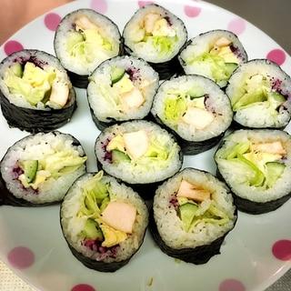 2簡単!!照り焼きチキンのサラダ巻き!!