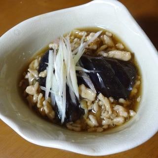茄子の煮浸しの鶏あんかけ