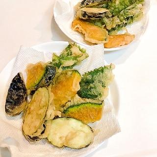 旬の野菜を添えて☆ほっけ切り身の大葉巻き巻き天ぷら