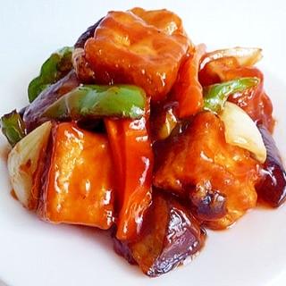 肉の代わりに厚揚げで 酢豚風炒め