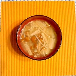 なめことエノキの味噌汁♪