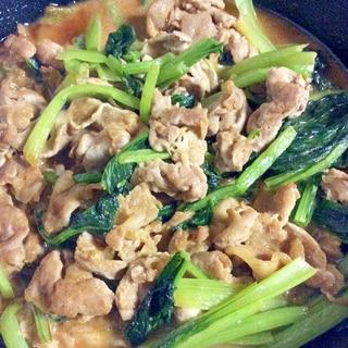 小松菜と豚肉の味噌鍋スープ炒め