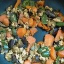鳥ひき肉と夏野菜のカレー炒め