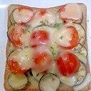 トマトとなすのチーズトースト