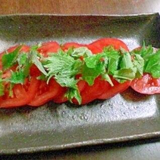 超簡単☆トマトと大葉でおつまみサラダ