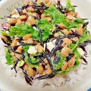 納豆の食べ方-酒粕&あおのりひじき♪