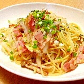【時短!】ざく切り白菜と炒めベーコンの和風パスタ