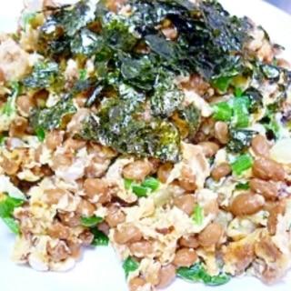 ふわっと香ばしい(^-^)納豆たっぷりのたまご焼き