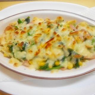 オーブントースターdeほうれん草・ハムのチーズ焼き