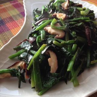 低カロリー!ほうれん草と椎茸の塩麹炒め