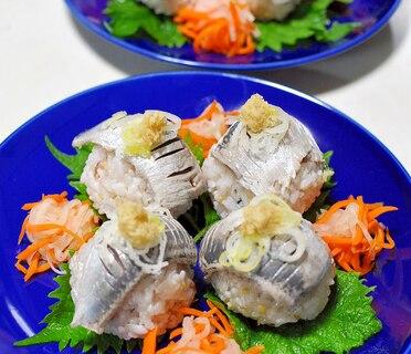 しめ鰯と梅酢飯で作る手まり寿司