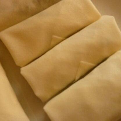 焼く前の春巻きをパシャ。パリッパリでヘルシー、冷蔵庫にあったナンプラーもつかえてまた作りたいレシピです。
