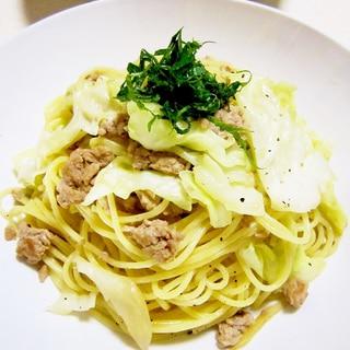 簡単うまっ☆キャベツとひき肉の和風パスタ