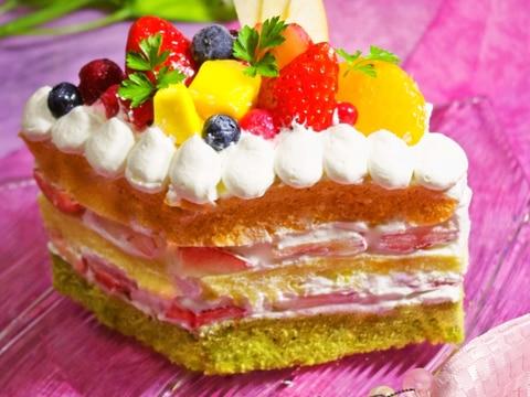 HMで簡単♡レンジで野菜のひな祭り菱餅型ケーキ