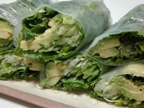 アボカド、パクチー、豆苗を使った香味野菜の生春巻