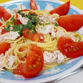 簡単!(^^)豚肉とトマトのオリーブ油漬のパスタ♪