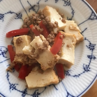 大豆ミートとパプリカ、厚揚げの炒めもの