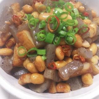 蒸し大豆とさつま揚げ、こんにゃくの甘辛炒め