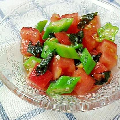 冷た~い♪トマトとオクラの海苔わさび和え