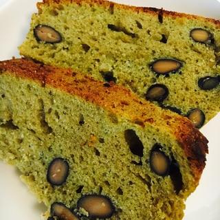黒豆と甘栗入り緑茶きな粉パウンドケーキ