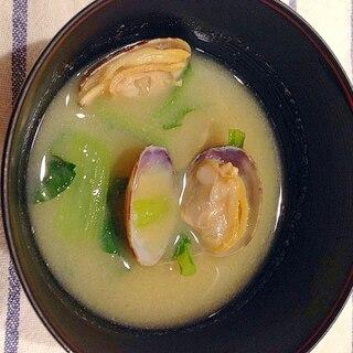 あさりと小松菜の味噌汁