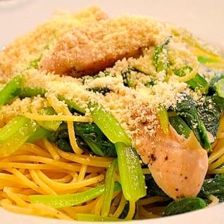 【簡単!】小松菜とササミのレモン風味パスタ
