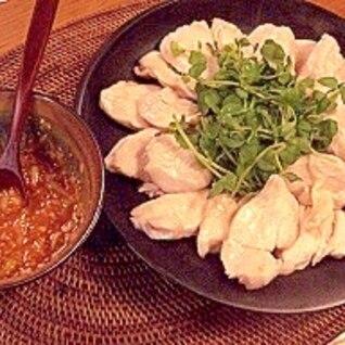 柔らか♪ゆで鶏の韓国風コチュジャンたれ