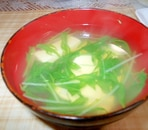 豆腐と水菜のお吸い物